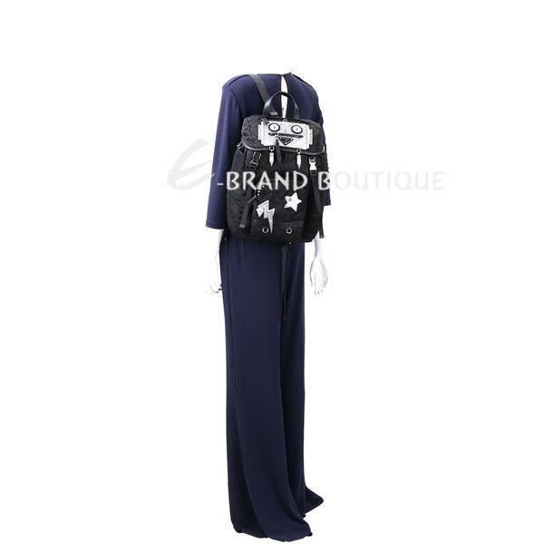 PRADA Robot 機器人圖案雙釦絎縫尼龍後背包(黑色) 1740030-01