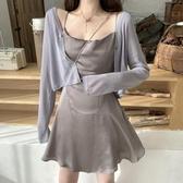 防曬外套 針織開衫外套女冰絲夏季防曬衫女長袖薄款罩衫短款披肩配裙子外搭