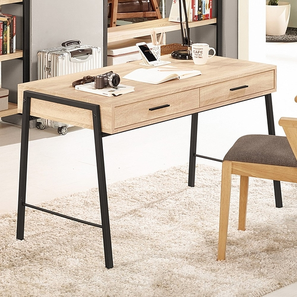 【森可家居】艾麗斯4尺書桌(不含椅) 8CM876-1 木紋質感 木心板 北歐工業風