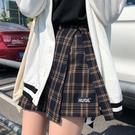 短裙 不規則半身裙女夏2021新款復古高腰格子裙短裙遮胯顯瘦A字裙褲裙