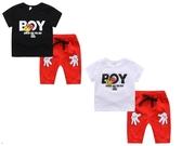短袖套裝 BOY 卡通造型上衣 + 棉短褲 紅白撞色 寶寶童裝 CK11753