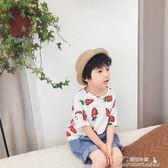 男童T恤 小童T恤夏季新款男童打底衫韓版兒童滿印短袖上衣1-2-3-4-5歲  聖誕節下殺