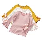 女童打底衫春裝新品正韓木耳邊純色棉上衣中小童長袖寶寶T恤