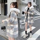 現貨L大衣外套開衫學院風格子毛呢外套牛角扣中長款加棉加厚冬裝T130E.951