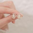 耳環 貓眼石耳釘簡約女小巧純銀針耳飾高級感氣質時尚耳環2021年新款潮 晶彩 99免運