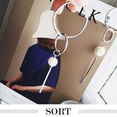 「預購」耳環 歐美風誇張立體幾何圓環珍珠不對稱長款耳環【1DDE0889】