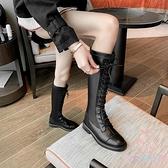 騎士靴女彈力系帶長靴不過膝中筒馬丁靴高筒長筒靴子【少女颜究院】