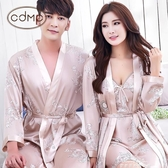 性感睡袍情侶睡衣絲綢冰絲薄款家居服韓版絲質男女浴袍 『夢娜麗莎』
