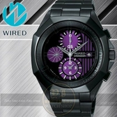 WIRED日本原創TOW FACE 系列 電音搖滾計時腕錶-黑紫/42mm 7T92-X228T/AF8Q65X公司貨