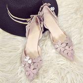 低跟鞋女韓版甜美百搭顯瘦尖頭單鞋女高跟鞋3cm 中空花朵低跟小細跟 法布蕾輕時尚