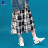 【三折特賣】American Bluedeer - 棉麻格紋裙(特價) 秋冬新款