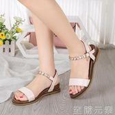 夏季新款平底低跟韓版涼鞋女串珠羅馬鞋休閒學生沙灘鞋民族風 至簡元素