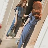 雪紡繫帶顯瘦工裝連身褲女夏季新款韓版高腰寬鬆時尚連衣褲潮  Cocoa