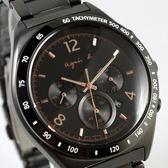【萬年鐘錶】agnes b. 法式時尚風 三眼計時錶IP鍍黑鋼帶 黑殼 黑面 玫瑰金指針43mm 7T12-0AP0F(BW8003P1)