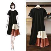 中大尺碼XL-5XL文藝風洋裝連身裙大碼女裝夏裝新款胖MM洋氣寬鬆顯瘦不規則拼接連衣裙4F090-1100