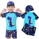 兒童恐龍泳裝 男童三件式泳裝 泳衣+泳褲...