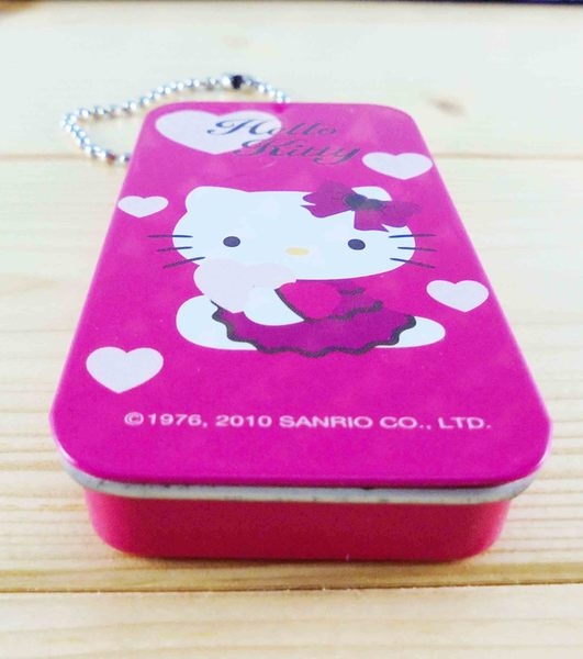 【震撼精品百貨】Hello Kitty 凱蒂貓~KITTY鐵盒鑰匙圈-愛心圖案-桃色