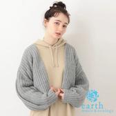 ❖ Autumn ❖ 素面蓬袖短版開襟針織罩衫 - earth music&ecology
