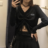 ins超火高腰長袖t恤女春秋韓版設計感心機V領短款露臍抽繩上衣服 錢夫人