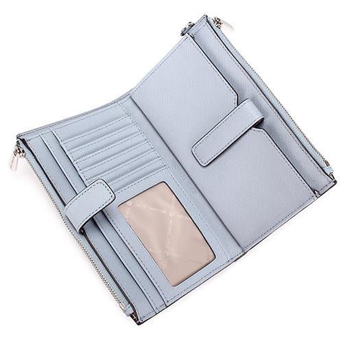 MICHAEL KORS JET SET銀字LOGO防刮皮革雙層手拿長夾(粉藍色)618134-5