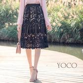 東京著衣【YOCO】韓系質感全蕾絲撞色透底A字裙-S.M.L(180217)