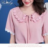 上衣 娃娃領櫻花刺繡綁帶短袖上衣-粉紅色-Rubys 露比午茶