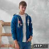 【JEEP】叢林冒險休閒連帽外套 (藍)