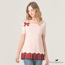 斜露肩剪裁X下擺花瓣拼接格紋設計立體蝴蝶結針織上衣【AE1490】
