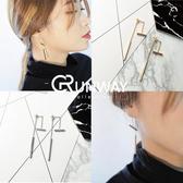 【R】韓國 簡約 氣質 百搭 金屬風格 長款 鍍金耳釘 耳針 耳墜 飾品