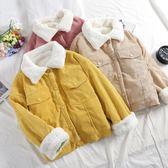 女夾克 冬外套女新款寬鬆燈芯絨棉衣加絨加厚羊羔毛短款棉服學生Y-0393