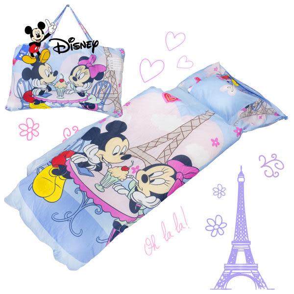 米奇 浪漫巴黎 藍 兒童睡袋 鋪棉冬夏兩用 台灣製 超取限一顆 伊尚厚生活美學