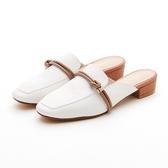 MICHELLE PARK 森林少女 方頭結飾線條羊皮穆勒鞋-白