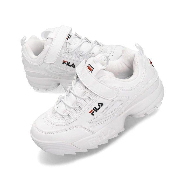 Fila 鋸齒鞋 Disruptor 2 KD 白 藍 老爹鞋 魔鬼氈 女鞋 大童鞋 復古運動鞋【PUMP306】 3C465T125