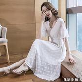 連身裙.氣質修身裙子白色中長款拼接V領過膝連身裙超仙..花戀小鋪