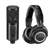 【聖影數位】日本 鐵三角 audio-technica ATR2500xUSB+ATHM50x 心型指向性電容式USB麥克風+專業型監聽耳機