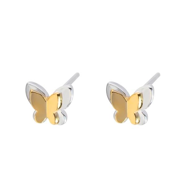925純銀 金銀雙色蝴蝶 耳環耳針釘-銀 防抗過敏