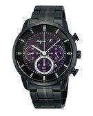 【僾瑪精品】agnes b 太陽能紫色魔力三眼黑鋼腕錶/V175-0CE0T(BU8008P1)