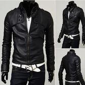 春秋新款皮衣男韓版修身短款立領皮夾克百搭黑色青年男裝小外套潮