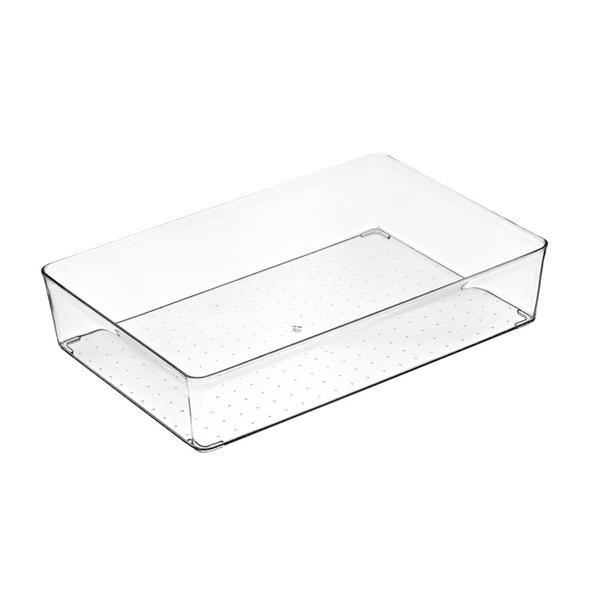 【BlueCat】大號 淺長方透明抽屜收納盒 (29.8*20*6.2cm) 收納箱 收納籃 置物箱 儲物盒 壓克力 冰箱