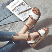 韓版新款學生一字帶涼鞋女夏鬆糕厚底鞋