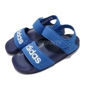 adidas 涼鞋 Adilette Sandal K 藍 白 魔鬼氈 涼拖鞋 基本款 女鞋 大童鞋 中童鞋【PUMP306】 G26878