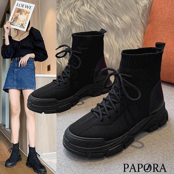 PAPORA熱銷鬆緊設計懶人中筒靴短靴KK6009