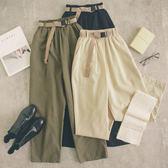 MUMU【P19123】腰部鬆緊寬褲(附皮帶)。三色