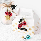 【BlueCat】聖誕節迷你2cm紅珠光方格小球 裝飾球 擺飾 (10入裝)