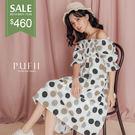 PUFII-洋裝 一字點點連身洋裝-0613 現+預 夏【CP16882】