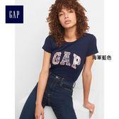 Gap女裝 Logo系列純棉金屬感圓領短袖T恤 215888-海軍藍色