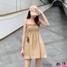 熱賣抹胸洋裝 2021韓版新款裹胸花苞裙娃娃裙吊帶連身裙性感露背抹胸小黑裙半裙【618 狂歡】