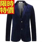 西裝外套  男韓版 西服 精緻簡單-休閒金絲絨隨意亮麗65b9【巴黎精品】