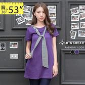 長版上衣--百變風格圓領附條紋領巾雙口袋傘狀長版上衣/洋裝(黑.紫XL-5L)-D364眼圈熊中大尺碼