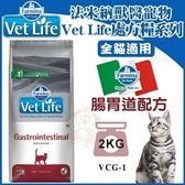 *WANG*【含運】義大利法米納Vet Life天然處方糧VCG-1貓用腸胃道配方2kg取代i/d、GI32、GIM35